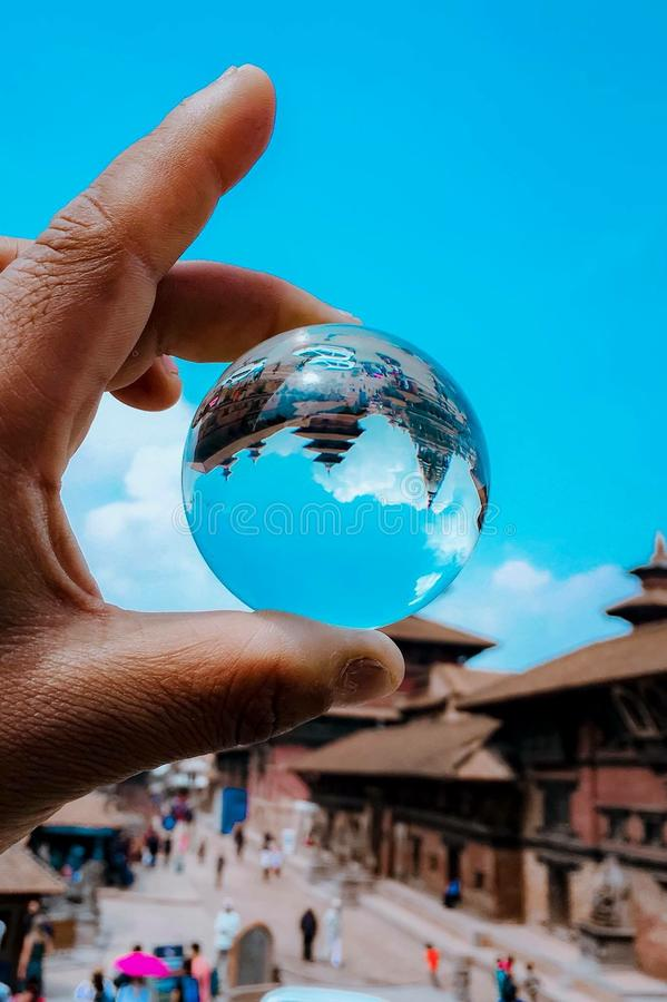 Beauty of pashupatinath Nepal. Pashupatinath,Nepal top holy place is captured inside the ball as inverted royalty free stock photography