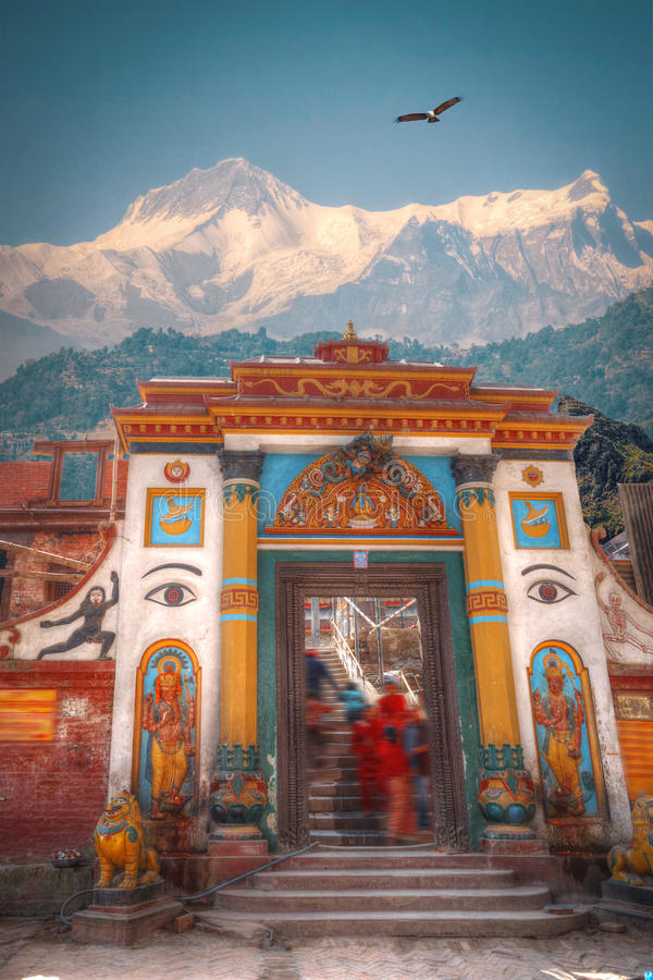 Pashupatinath Temple. Freely walk monkey. Votive temples and shrines in a row at Pashupatinath Temple, Kathmandu, Nepal stock images
