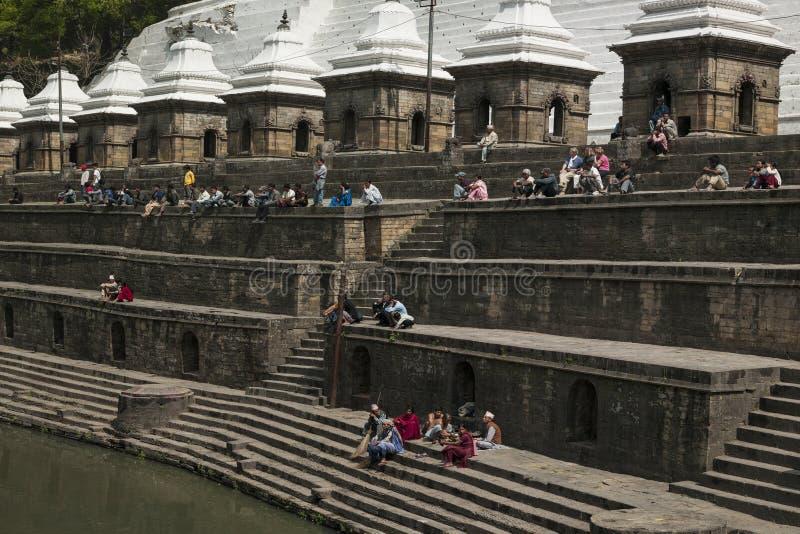 Pashupatinath Temple Ghats - Kathmandu - Nepal. The Ghats by the Bagmati River at Pashupatinath Hindu Temple in Kathmandu in Nepal. A UNESCO World Heritage Site stock images