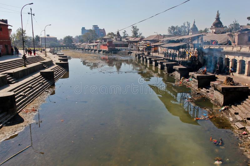 Pashupatinath temple in Kathmandu with river. And burning corpse ceremony stock photo