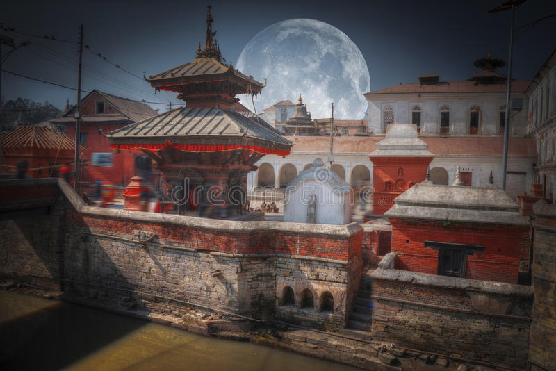 Pashupatinath Temple. Moon. Votive temples and shrines in a row at Pashupatinath Temple, Kathmandu, Nepal stock photo