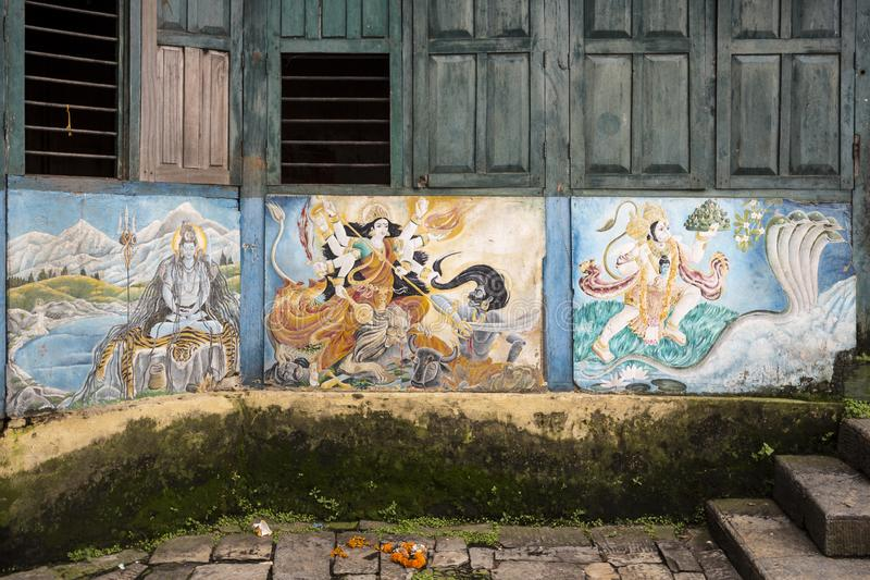Pashupatinath Temple, Nepal. Painted façade on the Pashupatinath Temple, the most famous and sacred Hindu temple complex, located on the banks of the sacred royalty free stock images