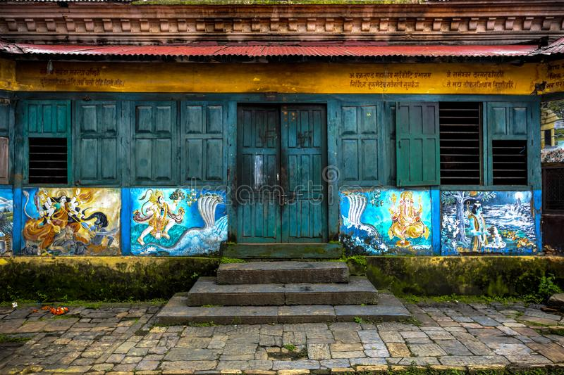 Pashupatinath Temple, Nepal. Painted façade on the Pashupatinath Temple, the most famous and sacred Hindu temple complex, located on the banks of the sacred royalty free stock photography