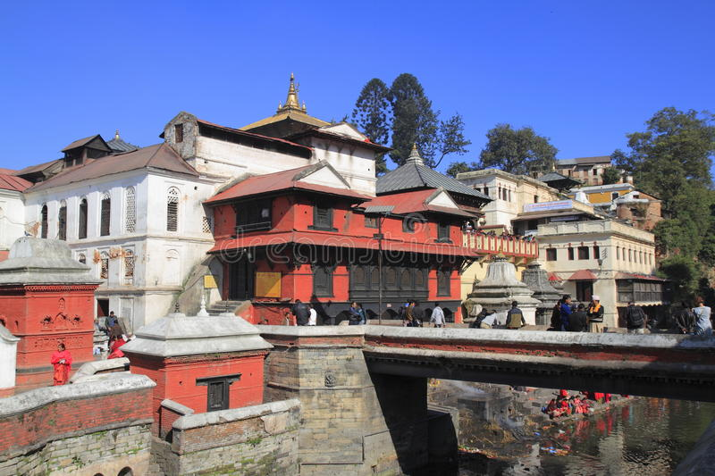 The Pashupatinath Temple. Pashupatinath Temple is Nepals most sacred Hindu shrine and one of the greatest Shiva sites, is located on the banks of the Bagmati royalty free stock images