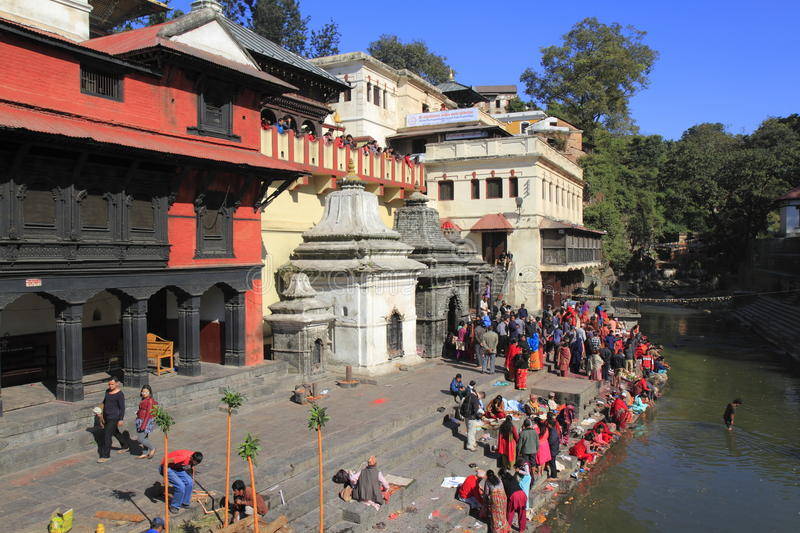 The Pashupatinath Temple. Pashupatinath Temple is Nepals most sacred Hindu shrine and one of the greatest Shiva sites, is located on the banks of the Bagmati stock photo