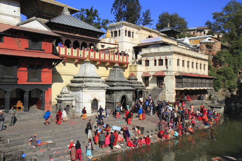 The Pashupatinath Temple. Pashupatinath Temple is Nepals most sacred Hindu shrine and one of the greatest Shiva sites, is located on the banks of the Bagmati stock image