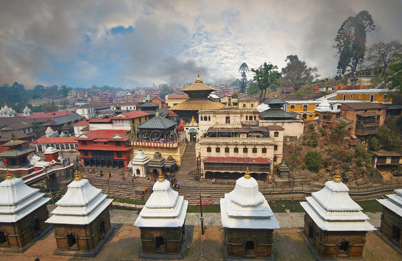Pashupatinath. Temple is one of the most significant Hindu temples of Lord Shiva in the world, located on the banks of the Bagmati River in the eastern part of royalty free stock images