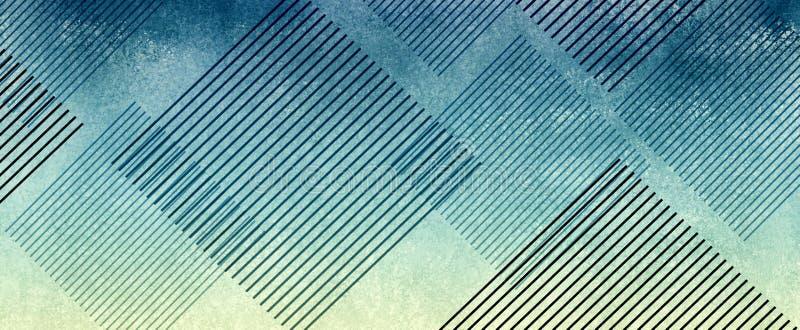 Pasiaści diamentów kształty na abstrakcjonistyczny błękitnym i kolorze żółtym textured tło projekt ilustracja wektor