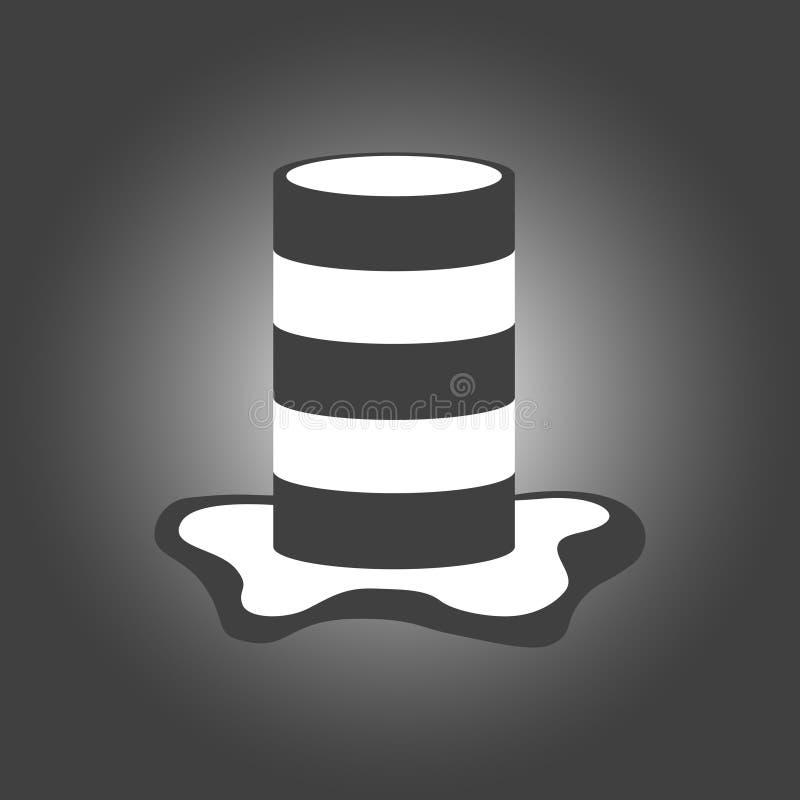 Pasiasta baryłka w czarny i biały lampasach z kałużą farba underneath również zwrócić corel ilustracji wektora Modny projekt dla ilustracja wektor