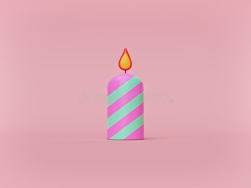Pasiasta boże narodzenie świeczka na pastelowym tle Round cylindryczna świeczka z palenie płomieniem minimalizm ?wiadczenia 3 d ilustracji