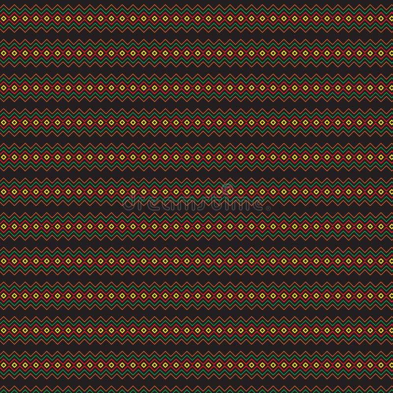Pasiastego Abstrakcjonistycznego skrobaniny czerni Ciemny Etniczny Rodzimy Bezszwowy Deseniowy tło royalty ilustracja