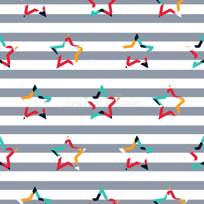 Pasiastej gwiazdowej camo chłopiec wektoru bezszwowy wzór ilustracja wektor