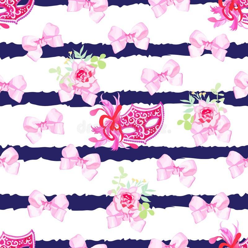 Pasiastej marynarki wojennej bezszwowy wektorowy druk z różowymi atłas łękami, wzrastał fl ilustracja wektor