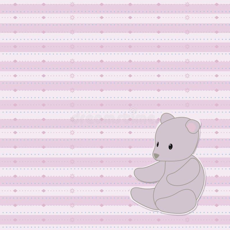 Pasiasty światło - różowego ślicznego dziecka wektorowy bezszwowy wzór z wzorzystymi liniami kropki z szarą miękką miś zabawką w  ilustracja wektor