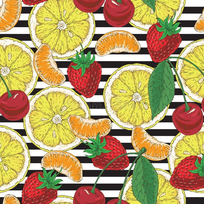 Pasiasty Bezszwowy wzór z owoc ilustracja wektor