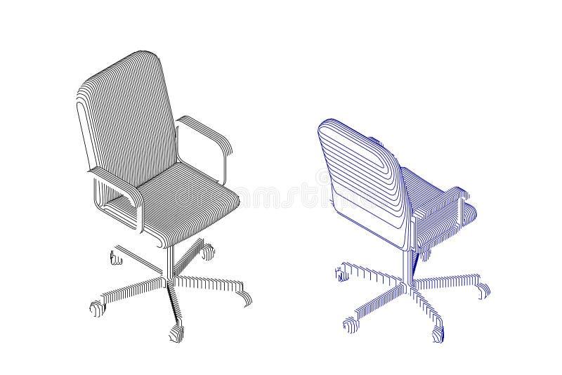 Pasiasty Biurowy krzesło wektor konturowa ilustracja royalty ilustracja