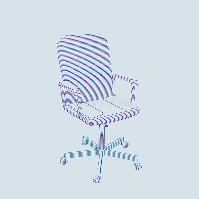 Pasiasty Biurowy krzesło wektor konturowa ilustracja ilustracja wektor