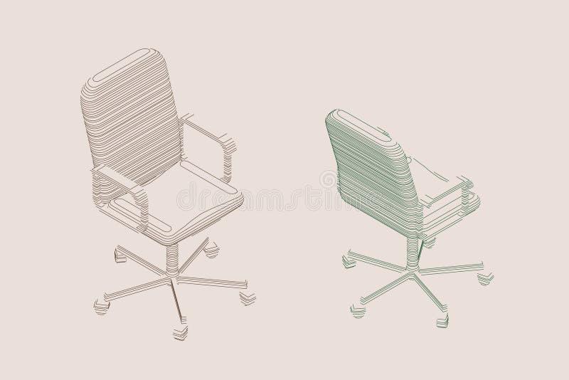 Pasiasty Biurowy krzes?o wektor konturowa ilustracja royalty ilustracja