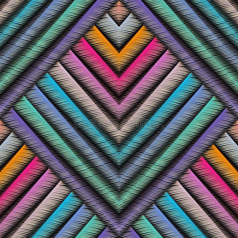 Pasiasty broderii 3d geometryczny bezszwowy wzór Wektorowy abstrac royalty ilustracja