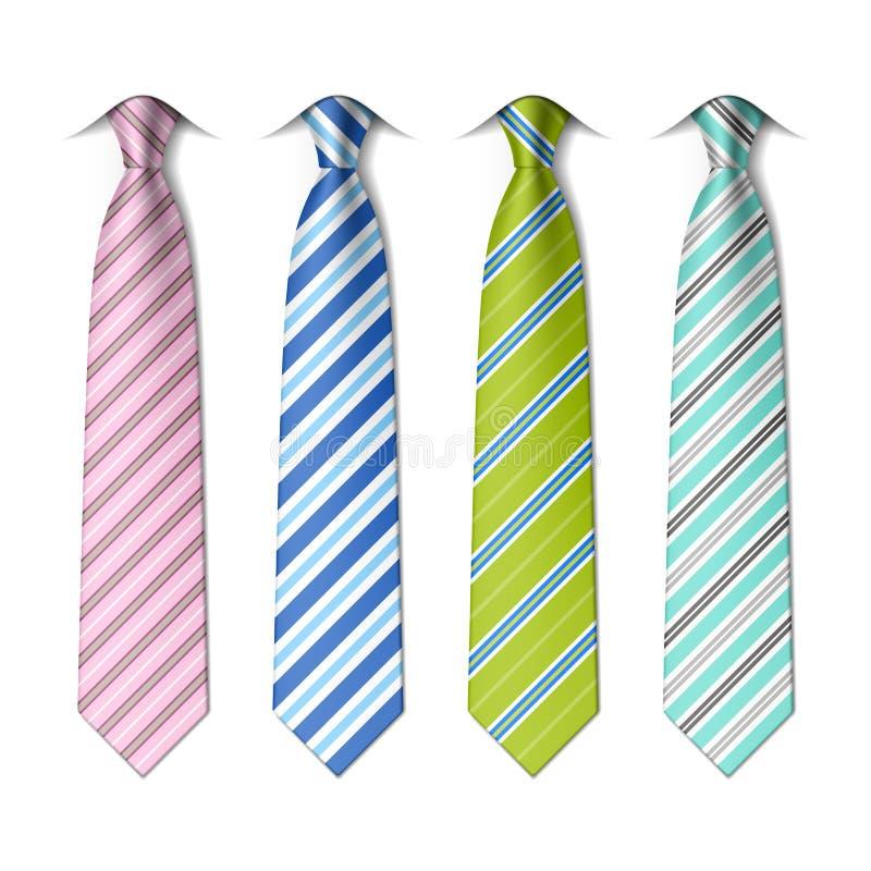 Pasiasty jedwabniczych krawatów szablon ilustracja wektor