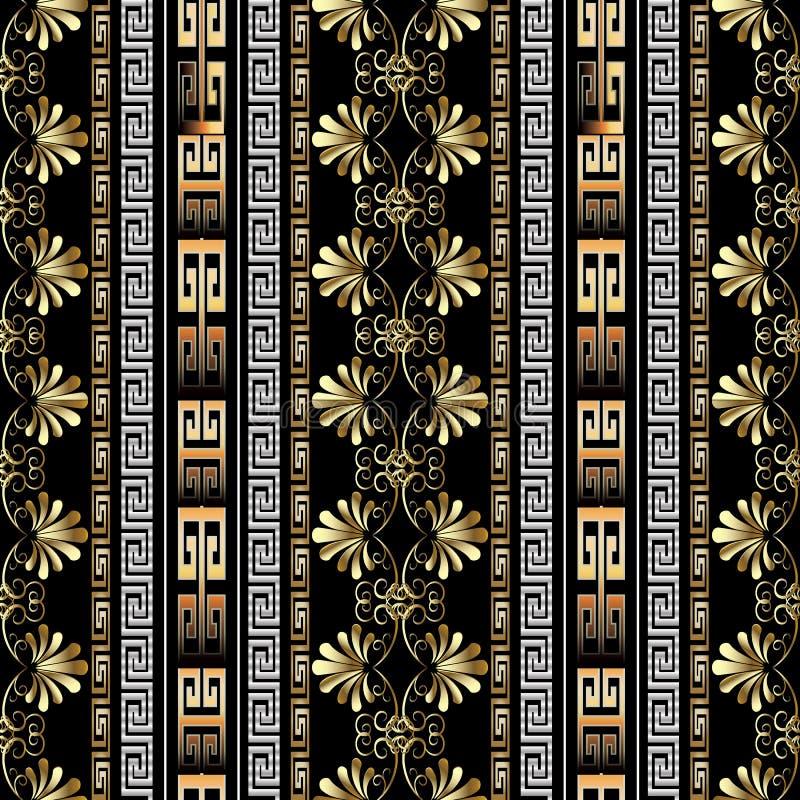 Pasiasty kwiecisty bezszwowy granica wzór Czarny wektorowy geometryczny b royalty ilustracja