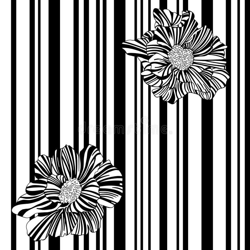 Pasiasty, monochromatyczny, czarny i biały bezszwowy wzór z kwiatami, ilustracji