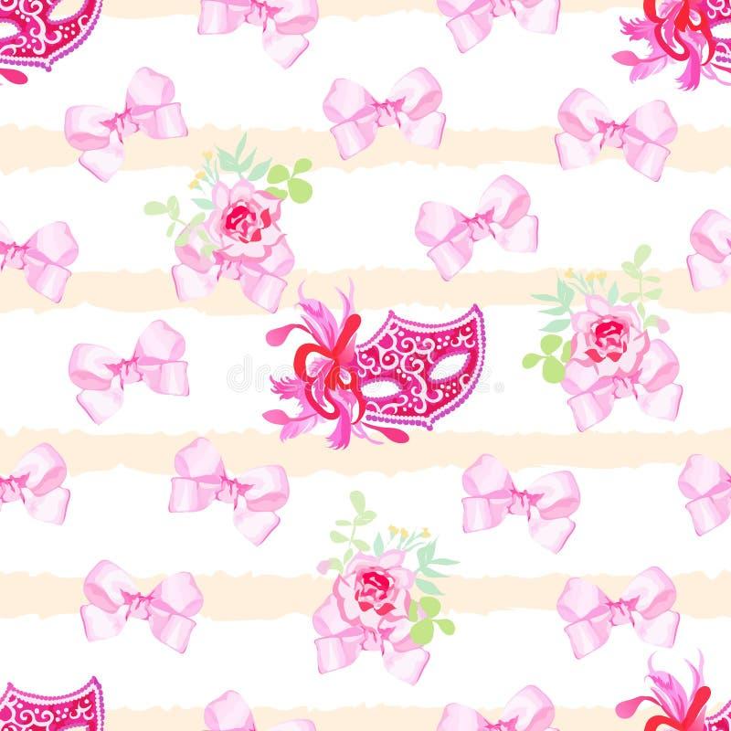 Pasiasty pastelowy bezszwowy wektorowy druk z różowymi atłas łękami, wzrastał ilustracji