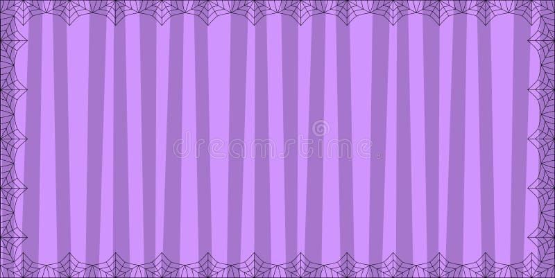 Pasiasty purpurowy prostokąta tło z ślicznymi pionowo lampasami obramiającymi z pająk pajęczyną royalty ilustracja