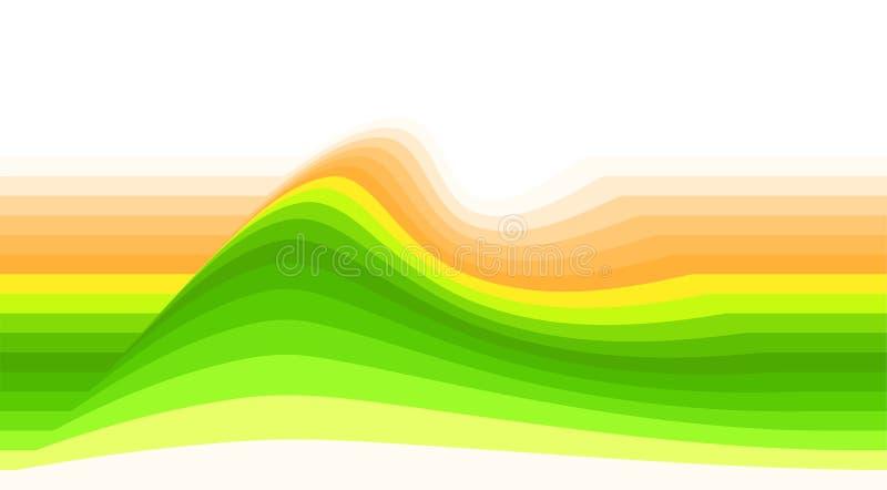 Pasiasty tło z żółtą zielenią i pomarańcze machamy Wektorowa tapeta royalty ilustracja
