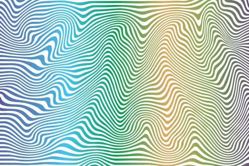 Pasiasty wyginający się abstrakt barwiący wzór ilustracji