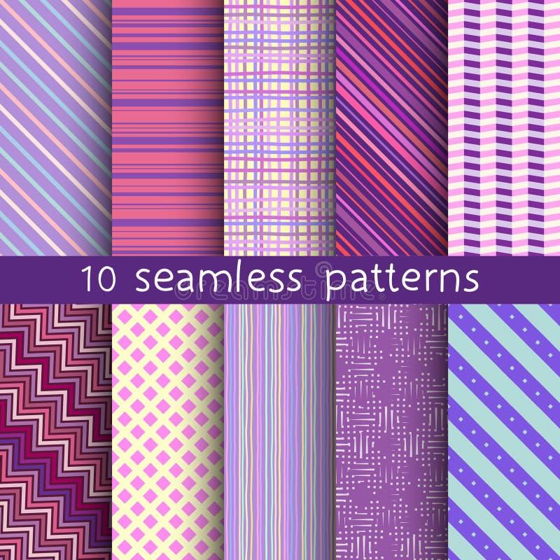10 pasiastych wektorowych bezszwowych wzorów Tekstury dla tapety, pełnie, strony internetowej tło royalty ilustracja
