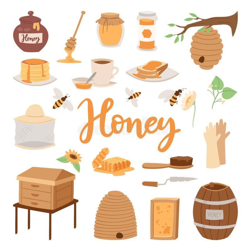 Pasiek ilustracj beekeeping wektorowego miodowego słoju naturalny organicznie cukierki ilustracji