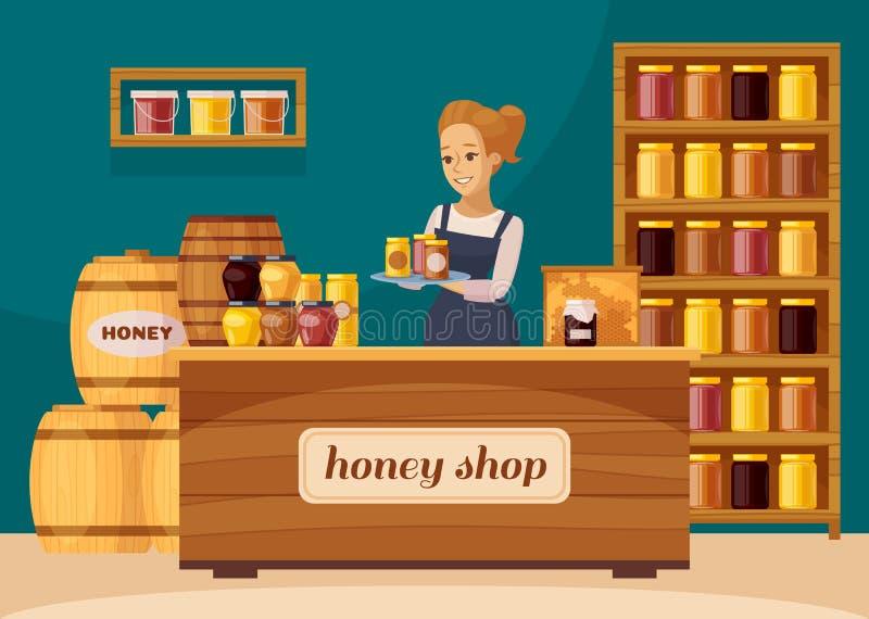 Pasieki pszczelarki miodu sklepu kreskówka ilustracji