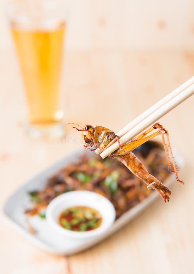 Pasikonik smażący w chopstick fotografia stock