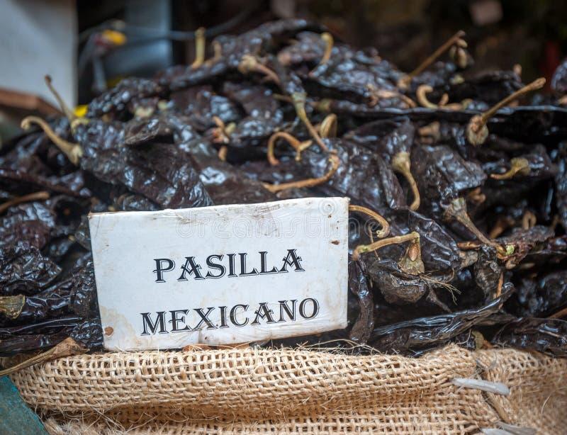 Pasilla chili in Oaxaca market, Mexico. Dried Pasilla chili in Oaxaca market, Mexico stock photo