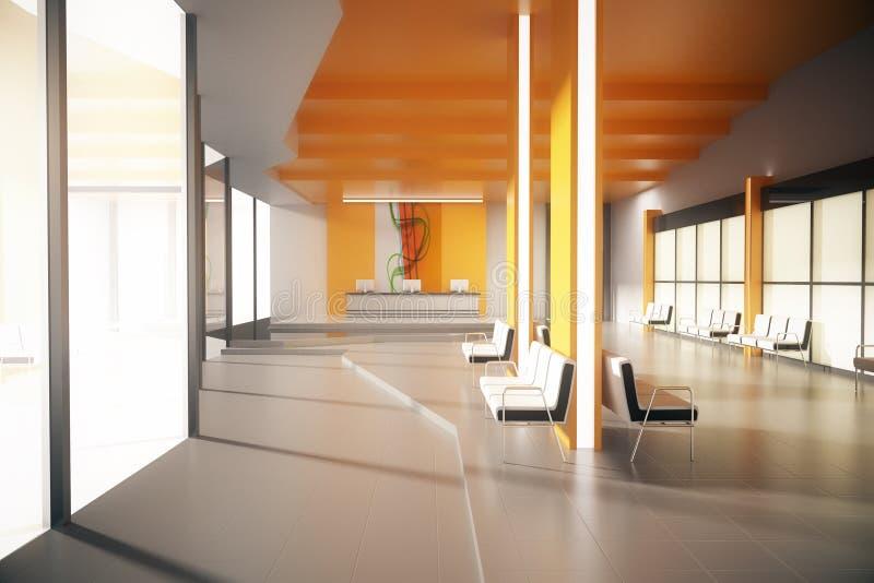 Pasillo anaranjado de la oficina ilustración del vector