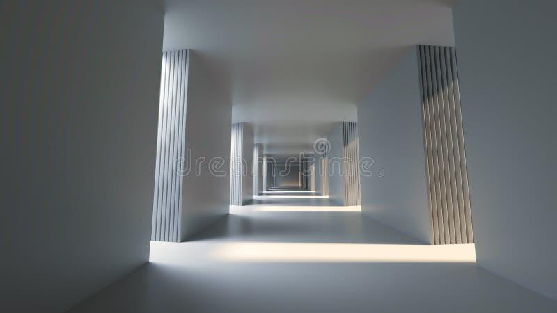 Pasillo brillante largo con la sol de la parte positiva, representación 3D stock de ilustración