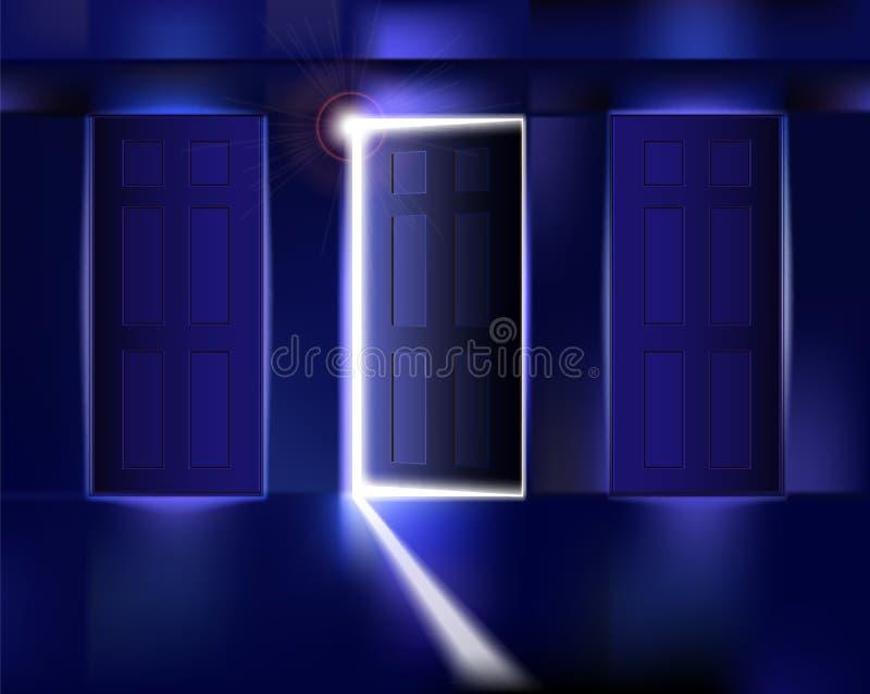 Pasillo con la puerta abierta ilustración del vector