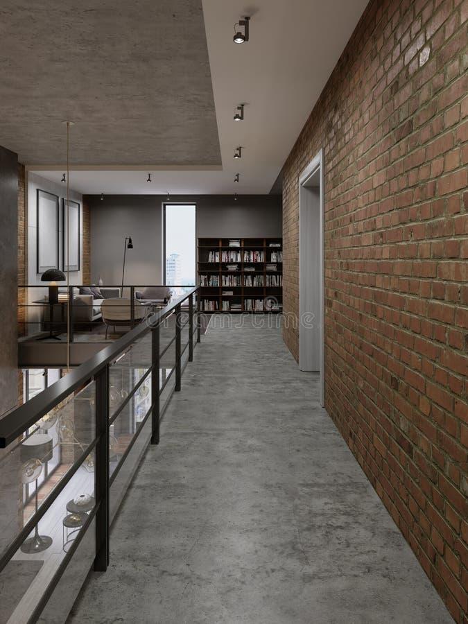 Pasillo con las verjas en la zona de recreo en la biblioteca en el estilo de un desván ilustración del vector