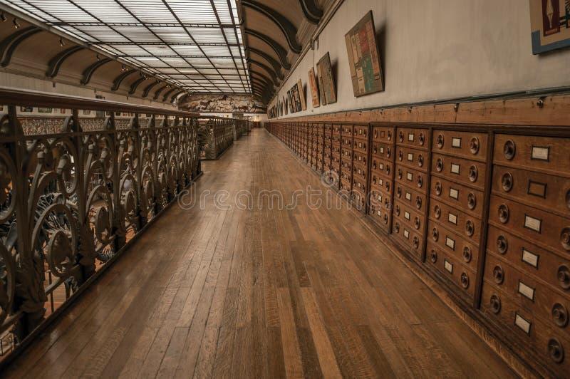 Pasillo con los gabinetes y exhibición fósil en la galería de la paleontología y de la anatomía comparativa en París foto de archivo libre de regalías