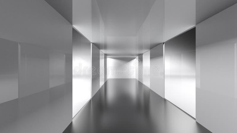 Pasillo conceptual con las ventanas anchas - representación 3D ilustración del vector