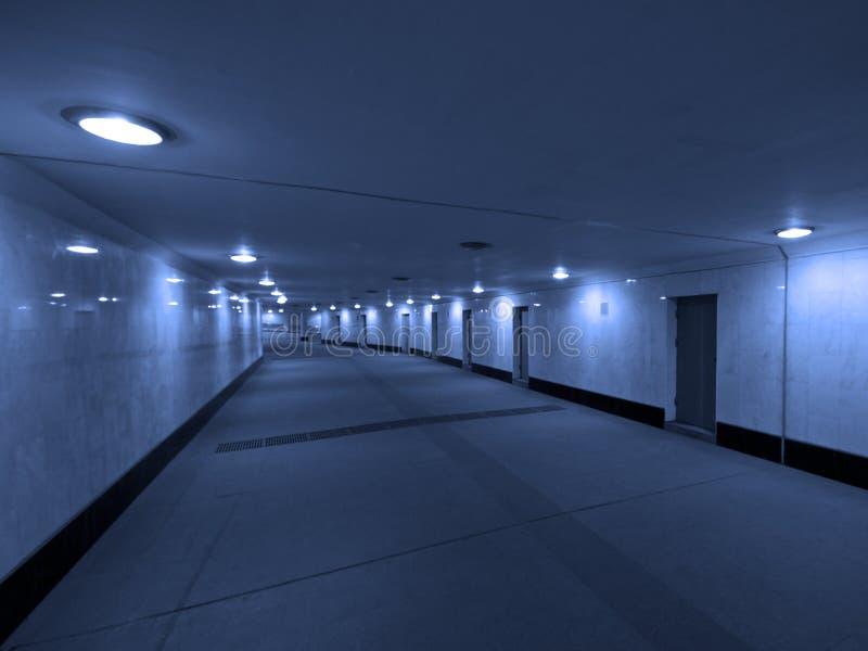 Pasillo concreto oscuro con puertas cerradas fotos de archivo libres de regalías