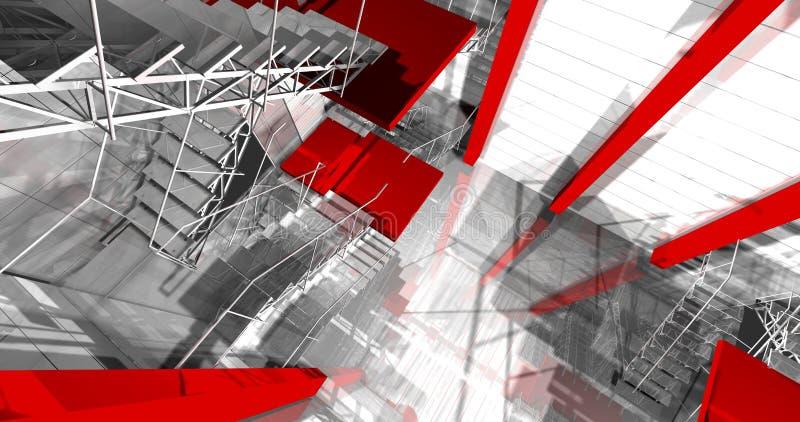 pasillo 3d. Interior industrial moderno, escaleras, espacio limpio en indu stock de ilustración