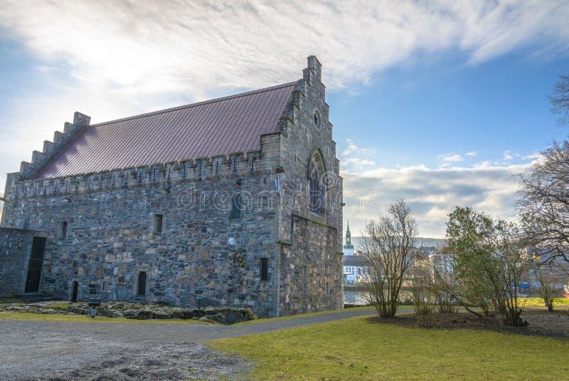 Pasillo de Haakon en la fortaleza de Bergenhus en Bergen, Noruega fotos de archivo libres de regalías