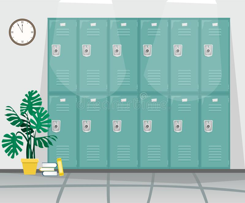 Pasillo de la escuela con los armarios para los libros y la ropa libre illustration
