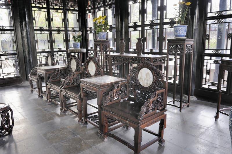 Pasillo de la fragancia distante, el jardín del administrador humilde, Suzhou, China foto de archivo