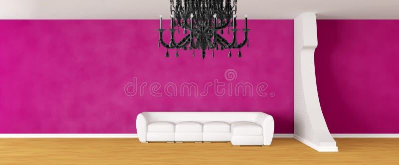 Pasillo de la galería con el sofá blanco stock de ilustración