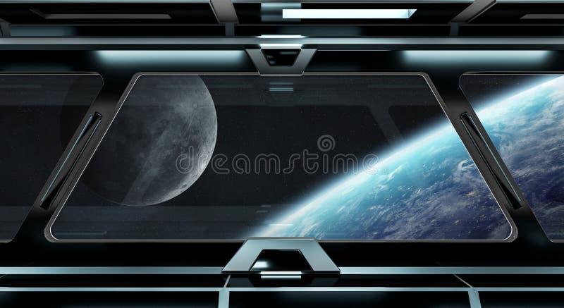 Pasillo de la nave espacial con la opinión sobre la tierra 3D del planeta que rinde el EL ilustración del vector