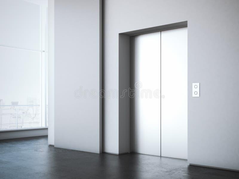Pasillo de la oficina con el soporte blanco de la publicidad representación 3d fotos de archivo libres de regalías