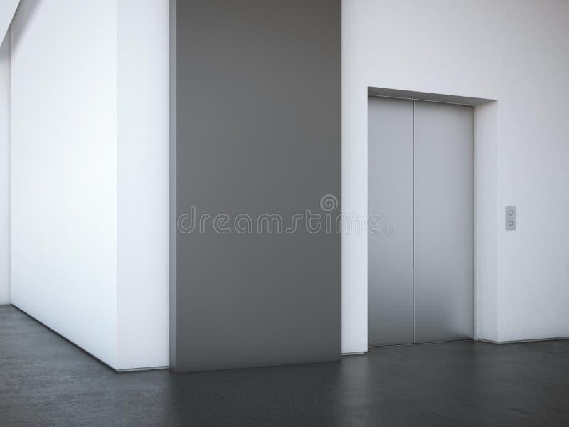Pasillo de la oficina con el soporte negro de la publicidad representación 3d imágenes de archivo libres de regalías